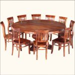 traditional and simple 84 round dining table design with wooden chairs and deck styled backrest
