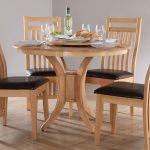 traditional round kitchen table set for 4 made of wood with deck style backrest and black bolster in white room