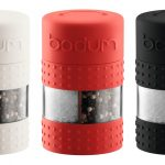 triple stylish bodum salt and paper grinder in white red and black color with transparent accent