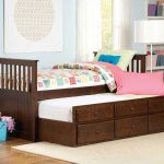 trundle beds for children with twin bed and wooden storage and large standing lamp and soft modern rug and wooden flooring and shelving