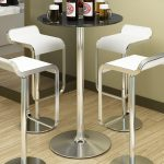 Unique Black Round Glass Bar Table For Home Design With Modern White Stools With Round Base On Wooden Floor