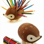 unique designed colored pencil holder idea in brown porcupine shaped