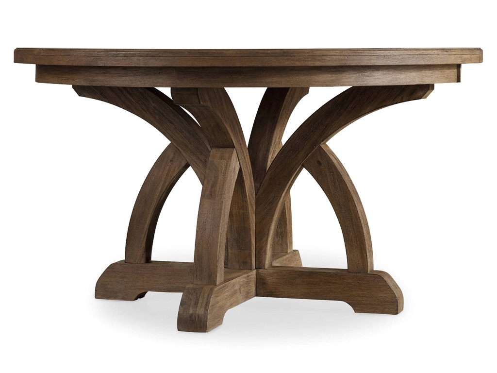 Unique Shaped 84 Round Dining Table Idea With Artistic Beam Carved Style