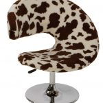 unique shaped modern cow print chair design with stainless steel round base and pole