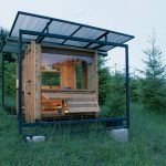 unique small rustic house plan for small home with semi transparent canopy with open plan and front bench