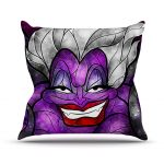 urban purple accent pillow design with woman mural decoration in gray black purple and red