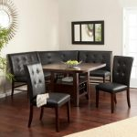 vintage black leather corner breakfast nook furniture with wooden table with wooden floor and sun wall mirror and glass window