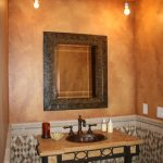 wall faux finish lamps mirror sink wood