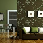 wallpaper sofa pilloes pics table chairs lamp
