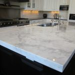 white countertops material option for modern kitchen steel sink