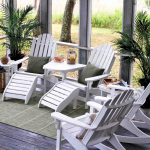 white recycled milk jug furniture classic plastic lumber patio furniture grey cushions plant accents simple stripped carpet