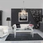 white sofas black rug pillows lamps cabinet buffet chandelier