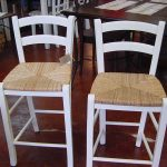white wood bar stools with long back plus rattan material for kitchen bar or kitchen counter bar
