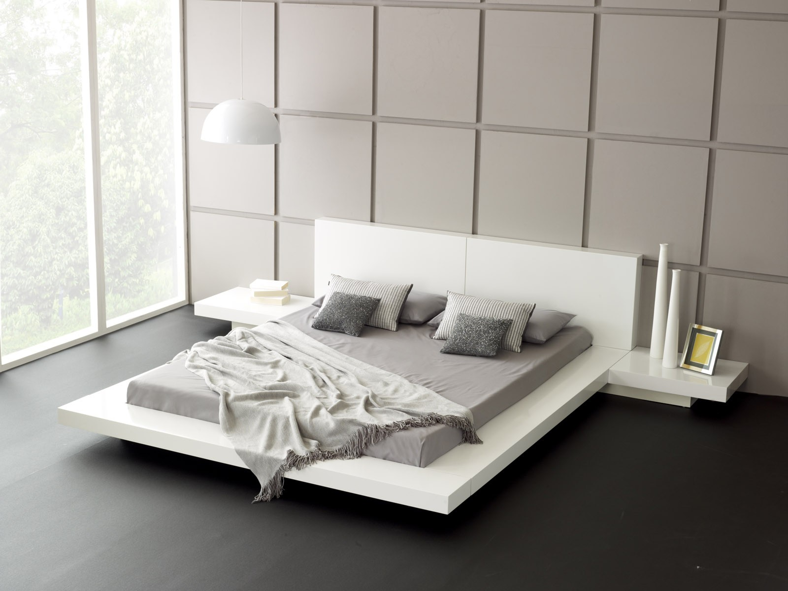 White Wooden Bed Frames Low Profile Queen Square Panel Wall