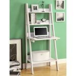 white wooden laptop green painted wall ladder shelf computer desk
