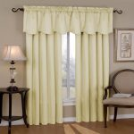 window treatment with sophisticated soft sound reducing curtains with window valances plus wooden end table in dark finishing and comfy chair plus wooden floor