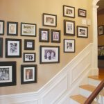 wonderful idea of picture frame target design on staircase wall with molding and white railing