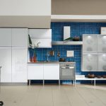 wonderful modern kitchen design with blue small tile backsplash idea with transparent upper racks and white cabinetry