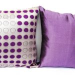 wonderful purple accent pillow design with polka dot pattern and silky material