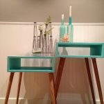 wonderful retro turquoise skinny side table design with adorable top and wooden legs and great viking ornament