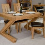 wonderful space saver dining set with solid oak table in rectangular shape plus cool chair with black leather seat and high back plus wooden shelf and side table