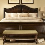 wood bed benche pillows cabinet