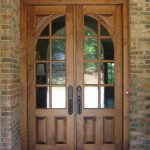 wood front door glass