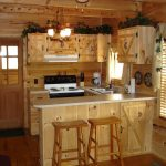 wood kitchen set lamps chairs