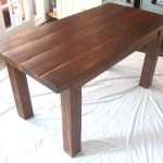 Wood Planks Table With Darker Stain