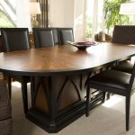 wood table chairs lamps curtains