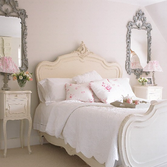 A French Styled Bedroom Decor Idea With Single Bed Furniture Pair Of Decorative Mirrors