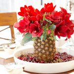 A bouquet with pineapple pot