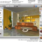 A displyed living room design in 3 dimension drafted by using home designer software