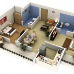 A floor plan for home in 3D version which consists of two bedrooms an open space for living room and dining room a kitchen room a family room two bathrooms