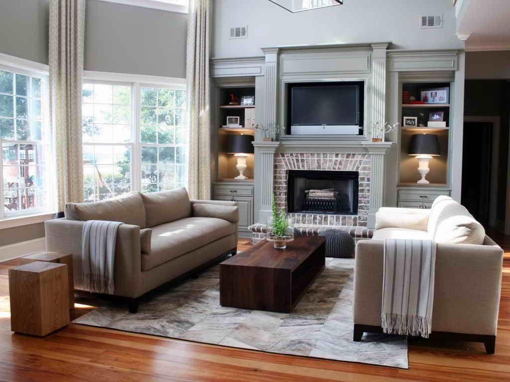 Two Different Color Sofas In Living Room