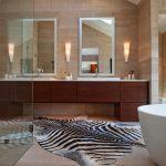 Animal Skin Rug For Bathroom Large Wood Minimalist Bathroom Vanity With Two Sinks And Faucet Two White Framed Vanity Mirrors White Bathtub Elegant Vanity Light Fixtures