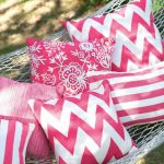 Any series of pink throw pillows for outdoor
