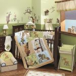 Baby Animal Green Set Small Chair Basket Wood Cabinet And Colorful Wallpaper