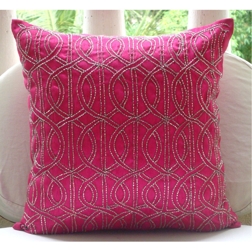 Beautiful Pink Pillow With Lines As The Decoration