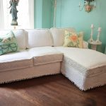 Beautiful white slipcover for sectional sofa  two pillows with floral pillowcases