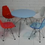 Beautifully colorful chairs and blue round table for kids