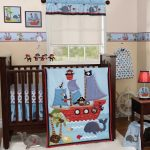 Bedding Fish Set Baby Crib Blue And White Style Sea Theme With White Rug And Dark Wooden Furniture