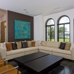 Best Frames Of Living Room Windows With Large Sectional Sofa And Double Wooden Table Black Tiling Floor