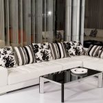 Best Selling Modern High Quality White Genuine Leather Sofa And Black Glassy Table Also White Floor