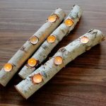 Birch log candle holders as creative and cool Christmas centerpiece