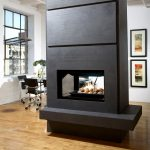 Black And Long Electric Fireplace In The Middle Of The Room With Hardwood Floor Design