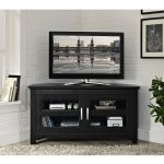 Black Wood TV Stand WIth Shelfs In The Grey Room Near The Fur Rug
