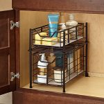 Black metal wire rack inside the bathroom cabinet