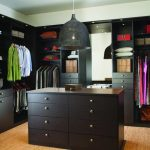 Black shade pendant light fixture for black themed closet unit