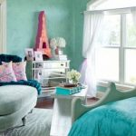 Blue Bed And Wall Painting White Chair And Curtains Shelf With Table Big Mirror